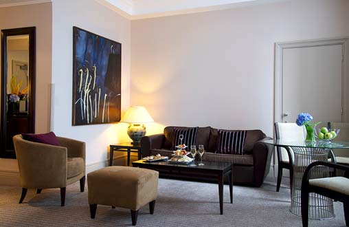 A comfortable sofa and chairs in our Studio Suites