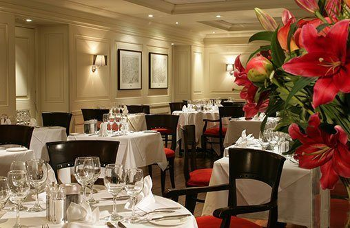 The hotel's Londinium Restaurant irradiating warmth